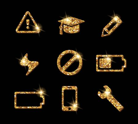 Luxury glittering shining golden web site icon collection