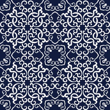 Seamless Blue Japanese Background Spiral Cross Chain Kaleidoscope