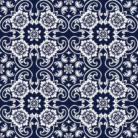 Seamless Blue Japanese Background Curve Cross Spiral Frame Flower