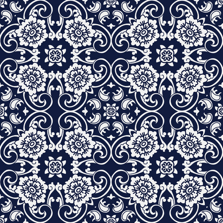 Seamless Blue Japanese Background Curve Cross Spiral Frame Flower