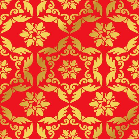 Seamless Golden Chinese Background Feather Polygon Spiral Cross Flower