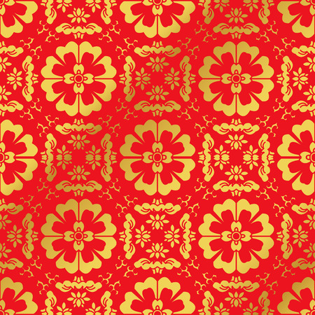 Seamless Golden Chinese Background Cross Spiral Round Flower Kaleidoscope