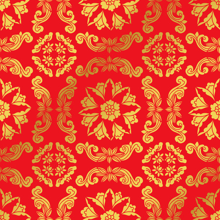 Seamless Golden Chinese Background Spiral Cross Flower Vine Çizim