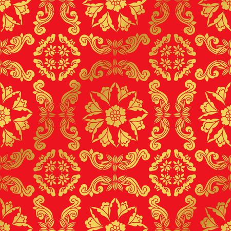 Seamless Golden Chinese Background Spiral Cross Flower Vine Vettoriali