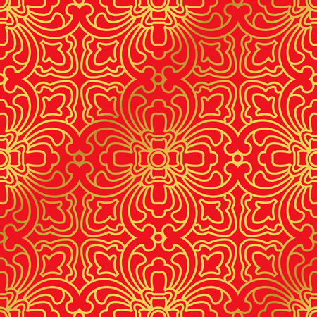 curve line: Seamless Golden Chinese Background Curve Cross Geometry Line Illustration