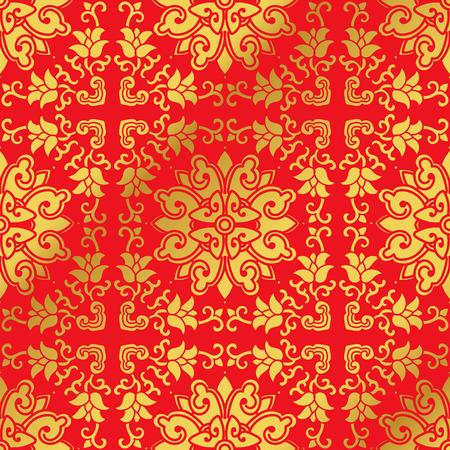 Seamless Golden Chinese Background Cross Spiral Vine Flower