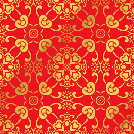 gourds: Seamless Golden Chinese Background Curve Cross Frame Flower