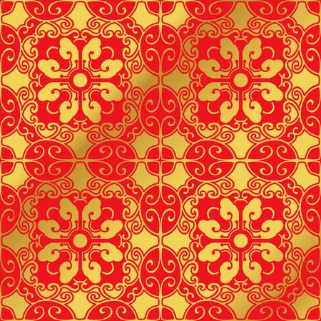 Seamless Golden Chinese Background Spiral Oval Polygon Cross Flower