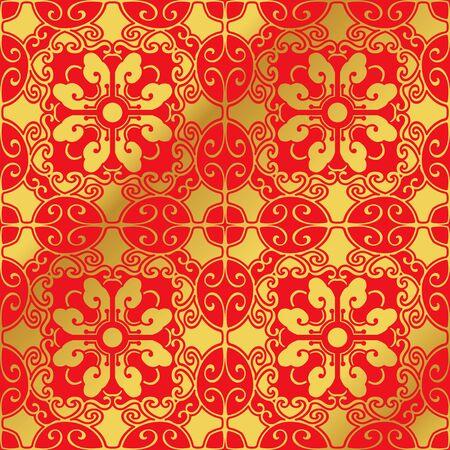 Sfondo trasparente cinese dorato senza saldatura Spirale ovale fiore multicolore poligono Archivio Fotografico - 70623740