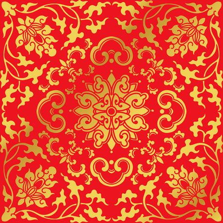Seamless Golden Chinese Background Botanic Spiral Vine Cross Flower
