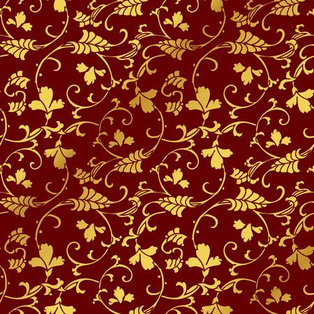 Seamless Golden Chinese Background Curve Spiral Cross Vine Flower