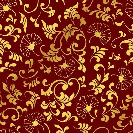 Seamless Golden Chinese Background Curve Spiral Leaf Flower Illustration