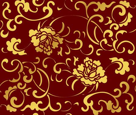 Seamless Golden Chinese Background Garden Spiral Vine Flower