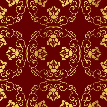crimson: Seamless Golden Chinese Background Spiral Cross Chain Flower Illustration