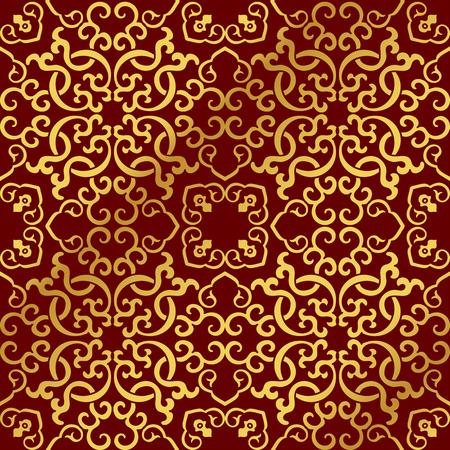 Seamless Golden Chinese Background Spiral Cross Chain Kaleidoscope