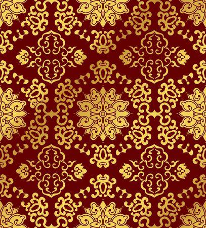 Seamless Golden Chinese Background Spiral Cross Frame Flower