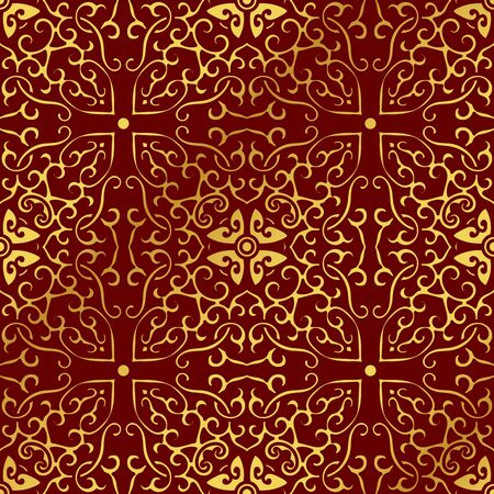 Seamless Golden Chinese Background Spiral Curve Cross Frame