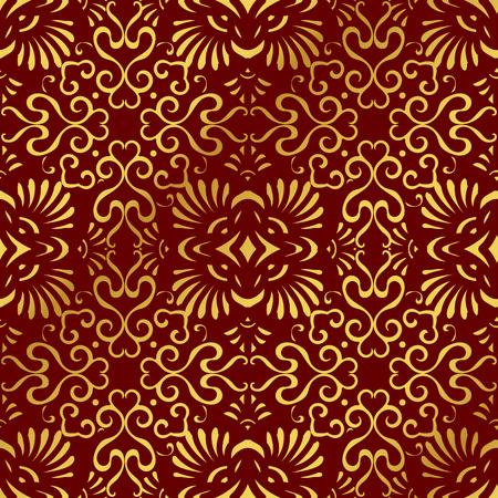 Seamless Golden Chinese Background Spiral Curve Fan Cross Ilustração Vetorial