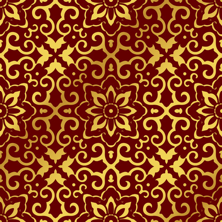 Seamless Golden Chinese Background Cross Spiral Frame Flower