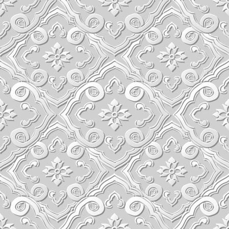 paper chain: 3D paper art pattern curve spiral cross chain flower