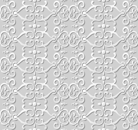 paper chain: 3D paper art pattern curve spiral chain flower Illustration