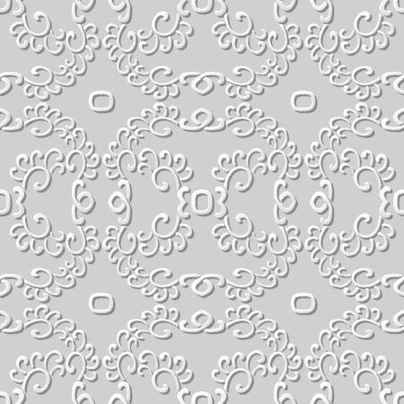 paper chain: 3D paper art pattern spiral curve cross chain Illustration