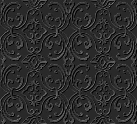 paper chain: 3D paper art pattern round spiral wave vine chain