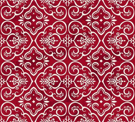 vintage: Seamless Vintage Red Chinese Background Curve Spiral Cross Frame Flower Illustration