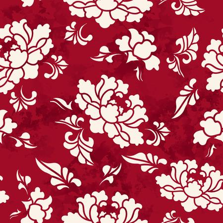 シームレスなビンテージ赤い中国背景植物園花の花