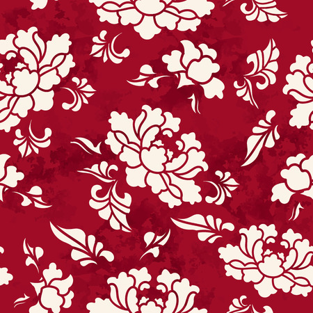 Seamless Vintage Red Chinese Background Botanic Garden Flower Blossom