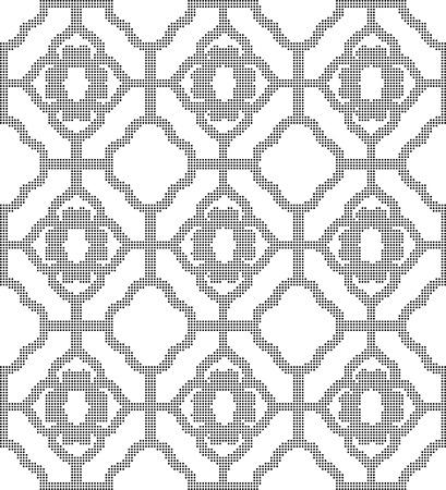 lattice window: Halftone round black seamless background curve cross window lattice Illustration