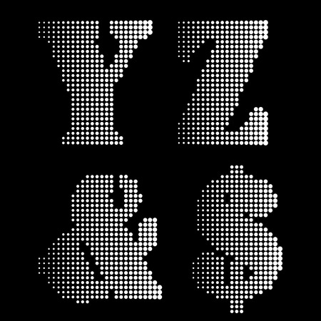 notations: Halftone Black White Alphabet letters Numbers Notations Illustration
