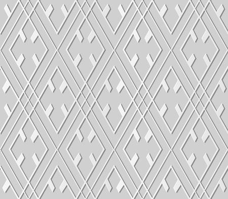 3D paper art check geometry rhomb cross frame Illustration