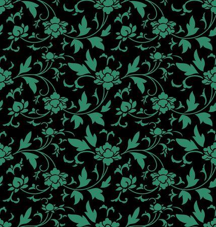 Antique seamless background retro botanic garden flower vine 向量圖像