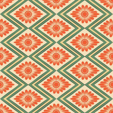 rhomb: Seamless background retro rhomb check sawtooth cross frame orange flower Illustration