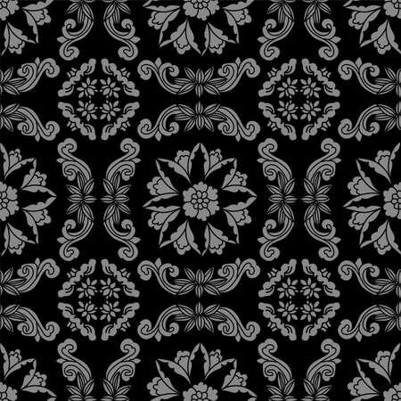Antique seamless background spiral cross flower vine 向量圖像