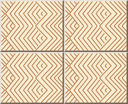 Ceramic tile pattern oriental orange geometry check sawtooth cross line