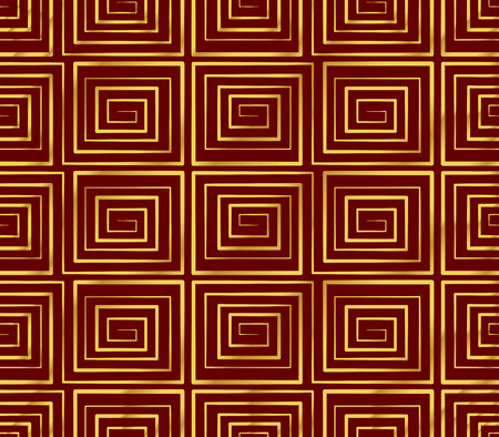 Seamless Golden Chinese Background spiral square vortex geometry cross line