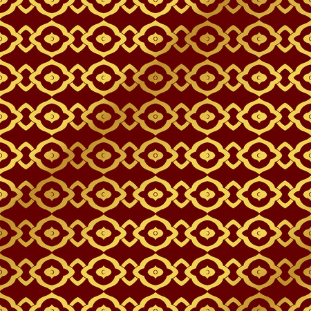 Seamless Golden Chinese Background curve round geometry cross frame
