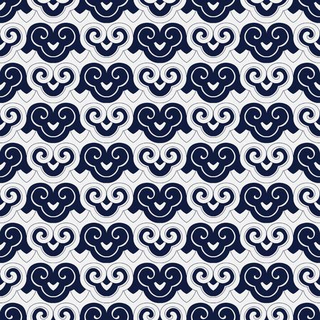 Seamless Blue Chinese Background spiral curve cross retro Japanese pattern Çizim