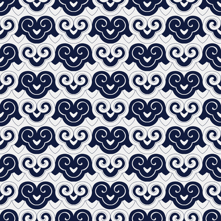 Seamless Blue Chinese Background spiral curve cross retro Japanese pattern Illustration