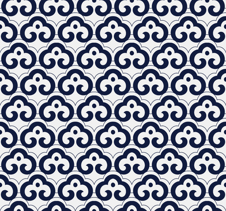 Seamless Blue Chinese Background oriental curve spiral cross frame chintz