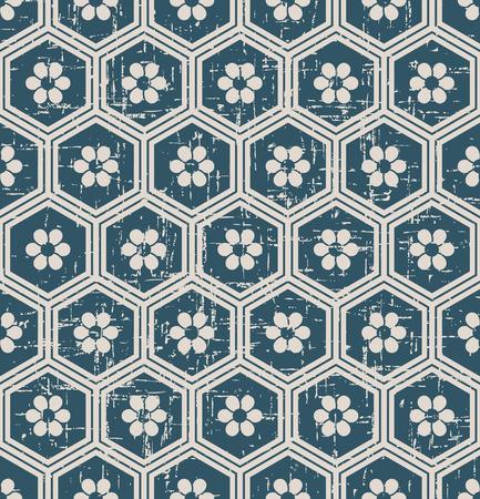 Antiek Naadloos retro uitgeput achtergrond oosters hexagon veelhoekkader om bloem