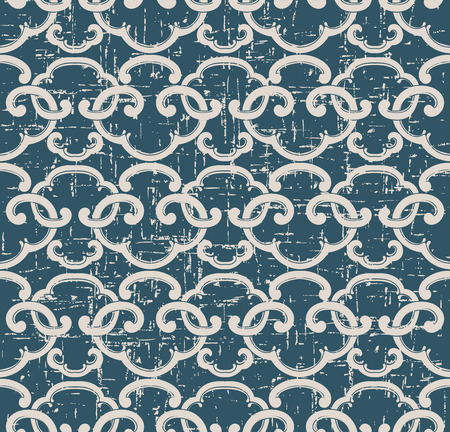 Antique Seamless retro worn out background oriental spiral cross geometry frame