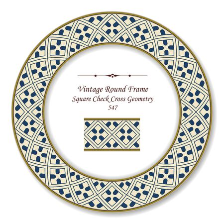 Vintage Round Retro Frame Square Check Cross Geometry