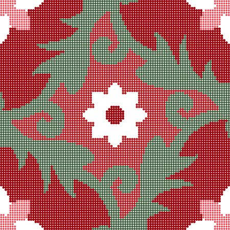 Halftone colorful seamless retro pattern red flower leaf spiral vine kaleidoscope