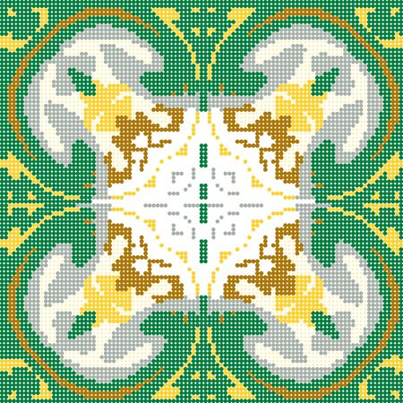 Halftone colorful seamless retro pattern vintage green round geometry kaleidoscope
