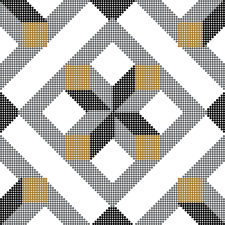 Halftone colorful seamless retro pattern square check cross geometry