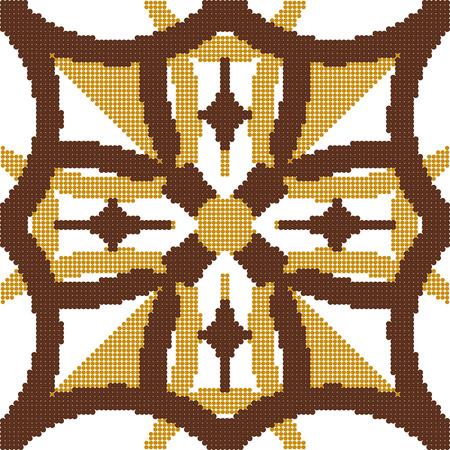 aboriginal art: Halftone colorful seamless retro pattern vintage yellow brown round curve cross geometry frame