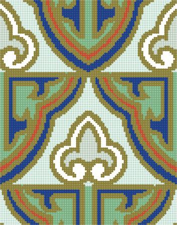 aboriginal art: Halftone colorful seamless retro pattern oriental Chinese curve golden outline frame chintz Illustration